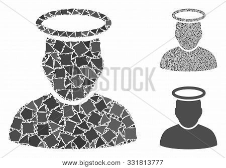 Holy Man Mosaic Of Humpy Parts In Different Sizes And Color Tints, Based On Holy Man Icon. Vector Ro