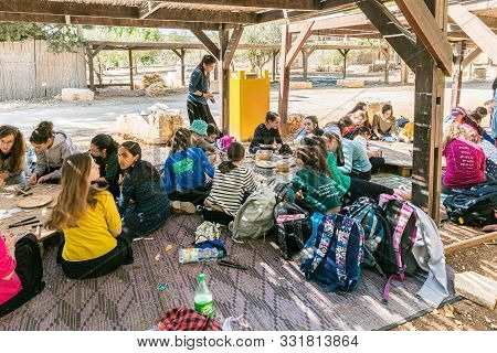 Rosh Haayin, Israel, October 31, 2019 : Schoolchildren Make Handmade Work From Pieces Of Tiles At Th
