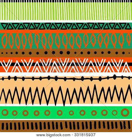 A Digitally Created Aztec Style Tribal Background Pattern.