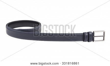 New Dark Blue Black Leather Belt With A Nickel Buckle. Without  Shadows. Isolated On White Backgroun