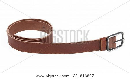 New Light Brown Suede Belt With A Nickel Buckle.without Shadows. Isolated On White Background