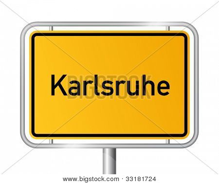 City limit sign KARLSRUHE against white background - Baden Wuerttemberg, Baden W�¼rttemberg, Germany