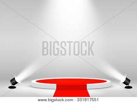 Stage Podium Scene For Award Ceremony Illuminated With Spotlight And Red Carpet. Award Ceremony Conc