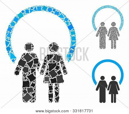 Marriage Mosaic Of Unequal Elements In Different Sizes And Shades, Based On Marriage Icon. Vector Un