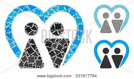 Marriage Mosaic Of Unequal Pieces In Variable Sizes And Color Tones, Based On Marriage Icon. Vector