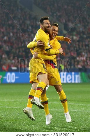 Prague, Czechia - October 23, 2019: Lionel Messi And Arthur Of Barcelona Celebrate After Scored A Go