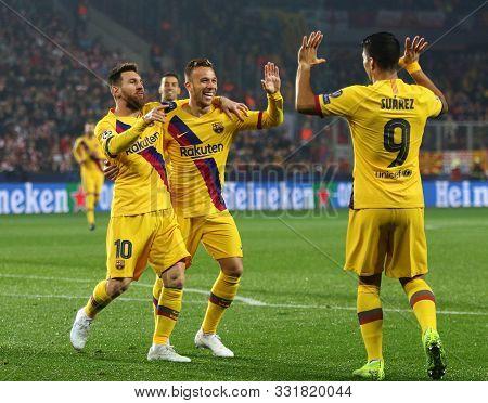 Prague, Czechia - October 23, 2019: Lionel Messi, Arthur And Luis Suarez Of Barcelona Celebrate Afte