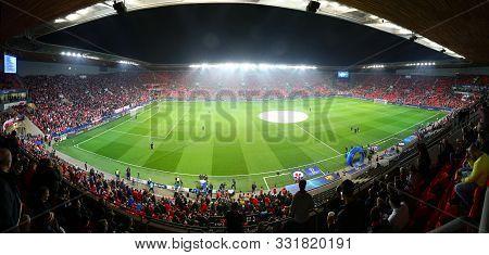 Prague, Czechia - October 23, 2019: Panoramic View Of Eden Arena In Prague During The Uefa Champions