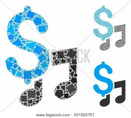 Music Price Mosaic Of Unequal Parts In Variable Sizes And Color Tones, Based On Music Price Icon. Ve