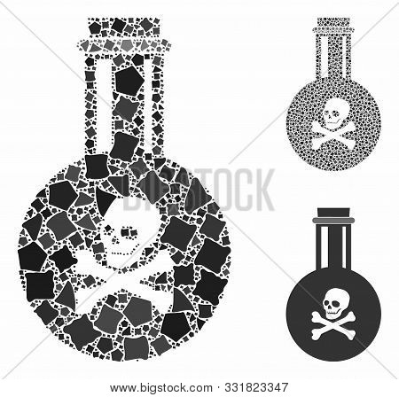 Poison Composition Of Trembly Pieces In Variable Sizes And Color Hues, Based On Poison Icon. Vector