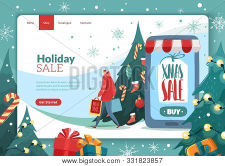 Christmas New Year Landing Page. Christmas New Year Sales Invitation Landing Page In Cartoon Style W