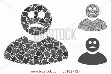 Sad Man Mosaic Of Bumpy Items In Variable Sizes And Color Hues, Based On Sad Man Icon. Vector Raggy