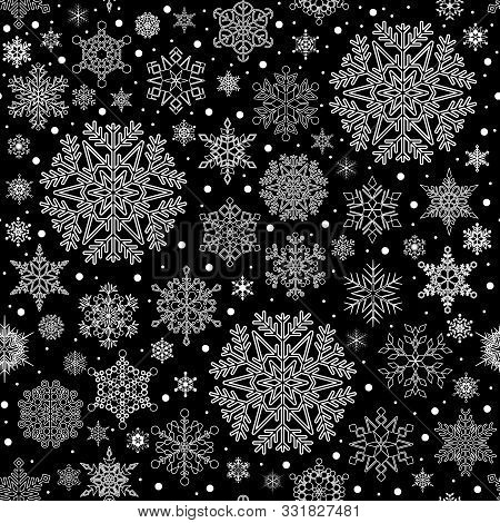 Christmas Seamless Pattern With Snowflakes. Vector Holiday Texture.