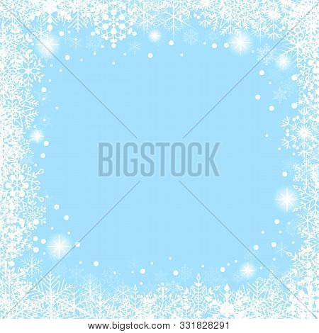 Christmas Frame With White Snowflakes On Blue Background. Vector Festive Background.