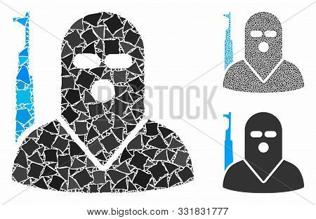 Terrorist Mosaic Of Rough Items In Variable Sizes And Shades, Based On Terrorist Icon. Vector Bumpy