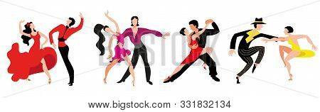 A Set Of Couples Dancing Latin American Dancing. Couples Dance Samba, Rumba, Paso Doble, Jive.