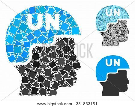 United Nations Soldier Helmet Mosaic Of Uneven Items In Various Sizes And Shades, Based On United Na