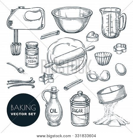 Baking Ingredients And Kitchen Utensil Icons. Vector Hand Drawn Sketch Illustration. Cooking And Rec