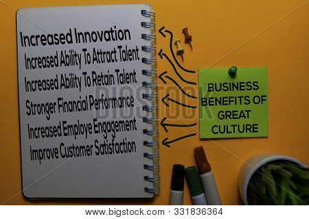 Business Benefits Of Great Culture Method Text With Keywords Isolated On White Board Background. Cha