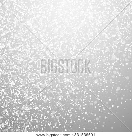 Magic Stars Sparse Christmas Background. Subtle Flying Snow Flakes And Stars On Light Grey Backgroun