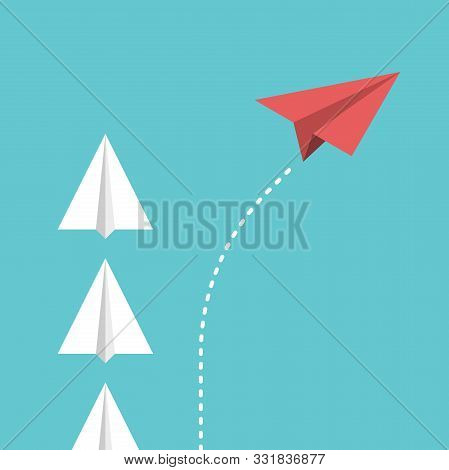 Red Unique Paper Plane Changing Direction, Dividing From Group. Disruption, Game Changer, Innovation