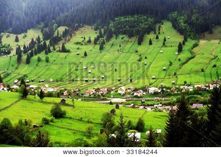 Mountain village in the Occidental Carpathians, Moldavia, Romania
