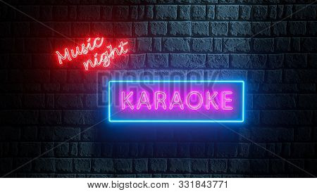 Advertising Bright Night Karaoke Music Night. 3d Karaoke Neon Sign On Brick Wall. Neon Signboard, Ni