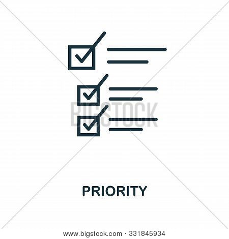 Priority Icon Outline Style. Thin Line Creative Priority Icon For Logo, Graphic Design And More