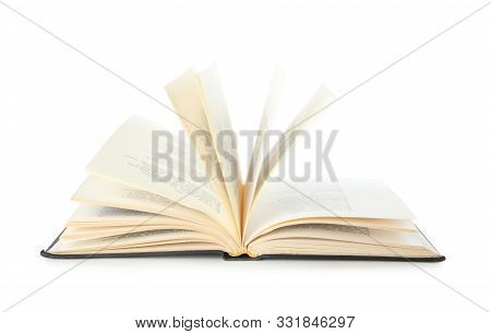 Open Hardcover Old Book On White Background