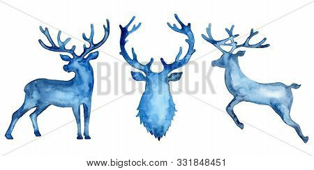 Watercolor Silhouette Set Of Deers: Jumping Deer And Head In Blue Color. Animal Painting. Stag And A