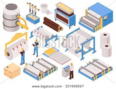 Paper Manufacturing Automated Process Machinery Isometric Set With Pulping Pressing Drying Sheet For