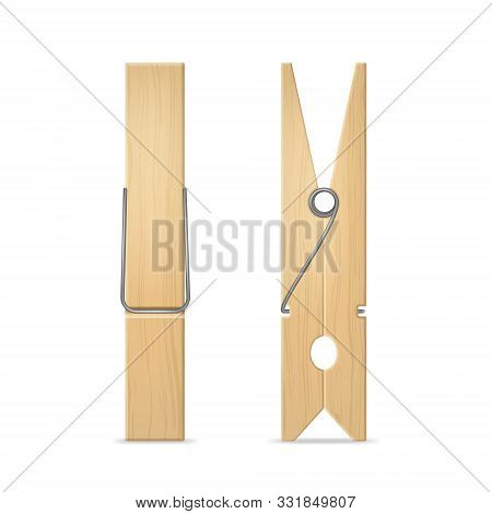 Realistic 3d Detailed Wooden Clothes Peg Set For Laundry And House Side And Front View. Vector Illus