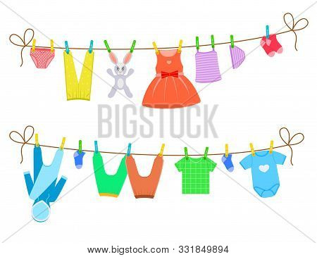 Cartoon Color Clothes On Clothesline Set Include Of Dress, Pant And Socks. Vector Illustration Of Ic