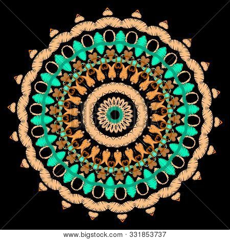 Tapestry Colorful Round Mandala Pattern. Embroidery Ornamental Vector Background. Ethnic Tribal Pais