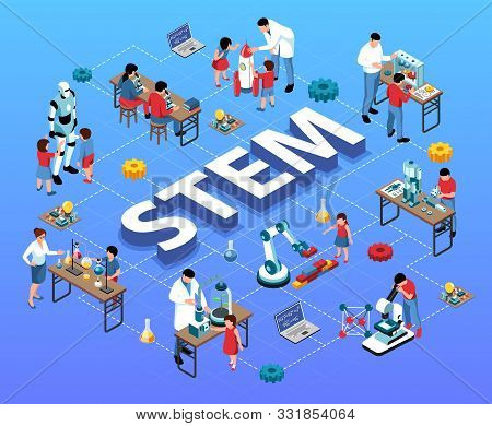Isometric Stem Flowchart With Children Teachers And Scientist Human Characters Laboratory Equipment