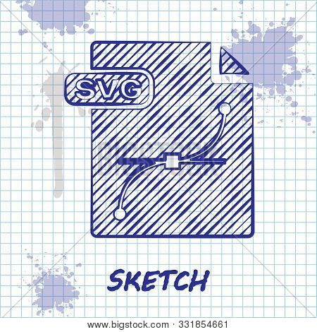 Sketch Line Svg File Document. Download Svg Button Icon Isolated On White Background. Svg File Symbo