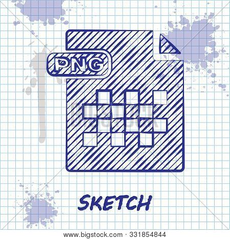 Sketch Line Png File Document. Download Png Button Icon Isolated On White Background. Png File Symbo