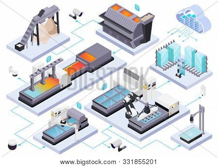 Glass Production Isometric Composition With Isolated Images Of Glassworks Industrial Equipment And M
