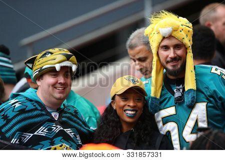 LONDON, ENGLAND - NOVEMBER 03 2019: Jaguars fans during the NFL game between Houston Texans and Jacksonville Jaguars at Wembley Stadium