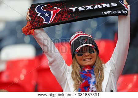 LONDON, ENGLAND - NOVEMBER 03 2019: Texans fan during the NFL game between Houston Texans and Jacksonville Jaguars at Wembley Stadium