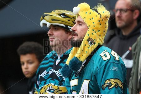 LONDON, ENGLAND - NOVEMBER 03 2019: Jaguar fans during the NFL game between Houston Texans and Jacksonville Jaguars at Wembley Stadium