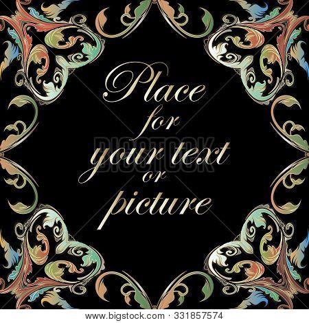 Baroque Frame. Ornamental Colorful Vintage Vector Seamless Pattern. Elegant Floral Damask Background