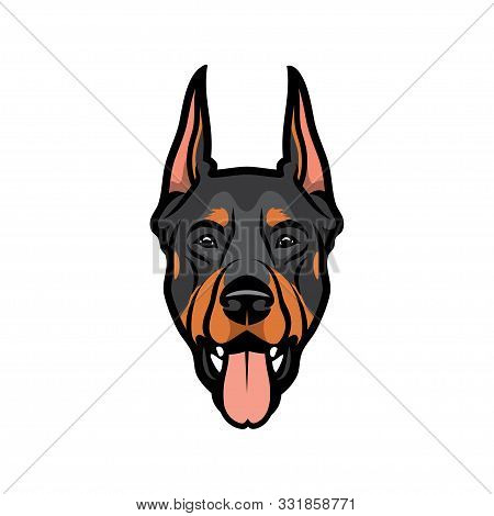 Doberman Pinscher Dog Face - Isolated Vector Illustration