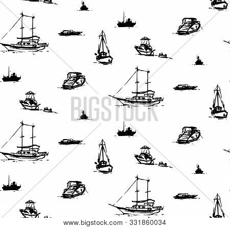 Seamless Pattern With Various Boats. Brushpen And India Ink. Inspired By Seaside In Bodrum (turkey).