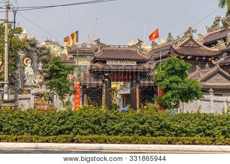 Da Nang, Vietnam - March 10, 2019: Chua An Long Chinese Buddhist Temple. The Temple Building, Green