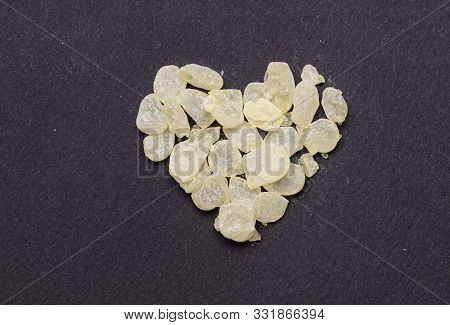 Chios Mastic Tears On Grey Black Background