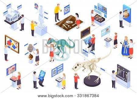 Modern Museum Technology Isometric Set With Virtual Reality Interactive Exhibits Reconstruction Dino