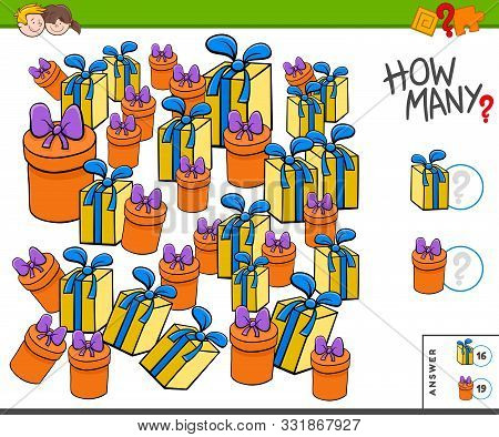 Illustration Of Educational Counting Task For Children With Christmas Or Birthday Presents