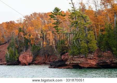 Stunning Fall Colors Along The Apostle Islands National Lakeshore In Wisconsin Usa