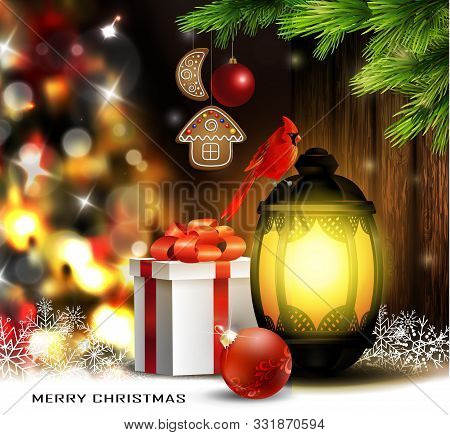 Christmas Tree Light Background. Vector On Dark With Snow And Standing Street Light And Red Bird Car